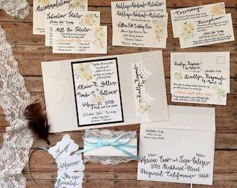 DEPOSIT: Unique wedding invitation, handmade pocketfold invitation, boho printed invitation set with pocket, lace theme wedding, DIY wedding