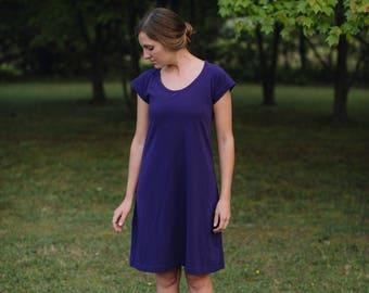 Womens Jersey Knit Cotton Short Raglan Sleeve Dress Handmade in the USA - Made to Order - Basics Raglan