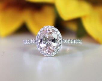 Morganite engagement ring, Pink Morganite ring, set in white gold, diamonds halo