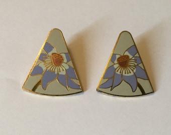 Laurel Burch Flower Earrings Lavender Purple Triangle