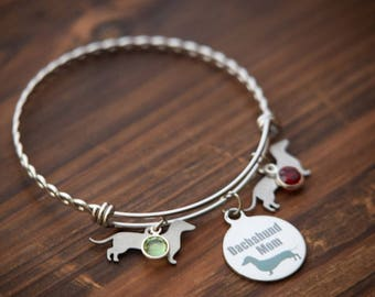 Dachshund Bangle, Dachshund Gift, Dachshund Bracelet, Dachshund Mom jewelry, Wiener dog gift, Pet lover gift, Doxie Bangle, Doxie Mom