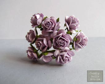 20 pieces Light Purple Handmade Mulberry Paper Flowers With Stems Crafts Supply Floral Blossom Decorations PFR14