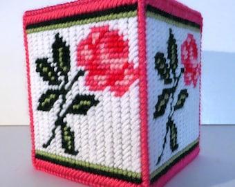 Handmade pink rose tissue cover
