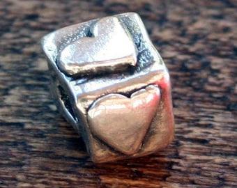 Heart Bead Sterling Silver Cube B106