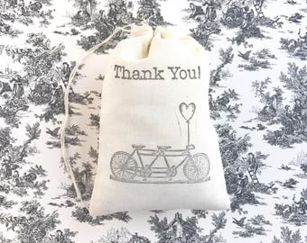 Thank You Bike Favor Bag Bicycle Wedding Welcome Muslin Bag Baby Shower Gift Bag Birthday Party Gift Bachelorette Bridesmaid Groomsmen