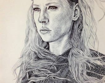 A4 portrait of Lagertha (Vikings) pen