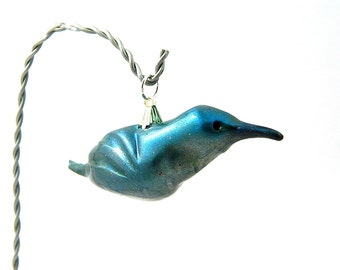 Blue-Green Hummingbird Ornament Hand-Sculpted Christmas Ornament Polymer Clay