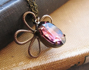 Daisy and Purple Jewel Necklace Charm Necklace Amethyst Vintage Cut Glass Estate Style Jewelry