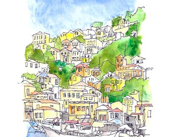 The harbour on the Greek island of Symi