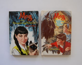 Vintage Meg Books, Holly Beth Walker, Meg and The Disappearing Diamonds, The Mystery of The Black Magic Cave, Kids Mystery Book Lot