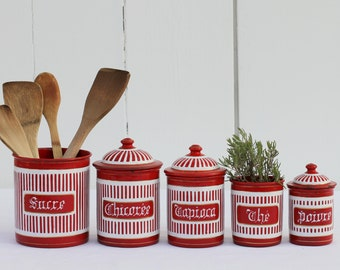 French vintage red enamel kitchen canister set