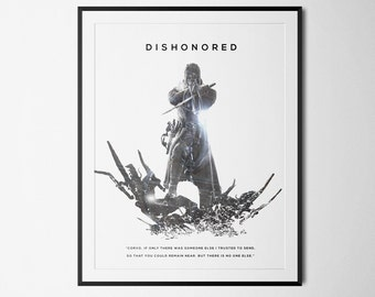 Dishonored Inspired Double Exposure Poster Print - Video Game Art