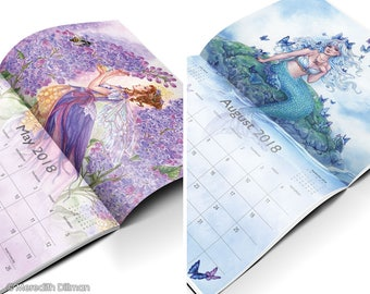 2018 Fairy Calendar by Meredith Dillman, fairy art, mermaid art, watercolor art, fantasy calendar, christmas gift