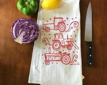 Flour Sack Tea Towel - Tractors - Hand Printed Original illustration - Cattle, Farm, Ranch, country, outdoors, homestead