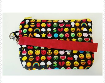 Smiling faces - Wristlet, Coin purse, Zipper pouch, Gift for her
