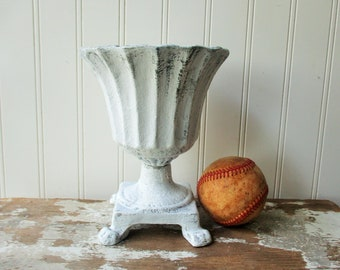 Shabby white cast iron urn planter footed vase 7 inch chippy distressed chalk painted finish antique or vintage style