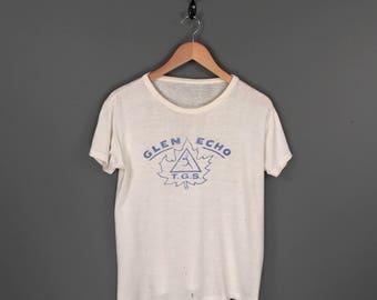 50s Nudist Colony Naturist Park T-Shirt. Vintage 1950s Glen Echo T.G.S. Toronto Gymnophysical Society Souvenir Tee.