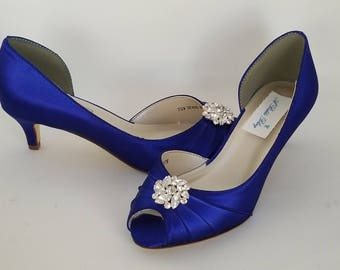 Blue Wedding Shoes with Crystal Flower Blue Bridal Shoes Blue Kitten Heels 100 COLOR CHOICES Cobalt Blue Shoes Royal Blue Shoes