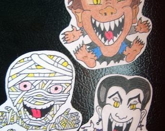 Movie Monster Magnets - Set of Three - Vampire, Werewolf and Mummy