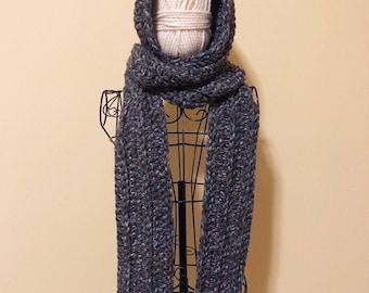 Long Hooded Scarf, Wool Blend, Chunky Knit, Crochet, Handmade, Hand Knit, Winter Scarf, Thick Yarn, Bulky Yarn, Knitwear, Cold Weather