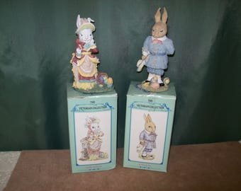 Vintage VICTORIAN EASTER BUNNIES Figurines from 1994 International Resourcing Services ~Bently Bunny & Harriet Hop-A-Long~Highly Detailed