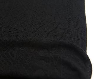 Black Tribal Pointelle Sweater Knit Fabric by the yard Extra Wide OSK00818
