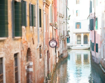 Venice Photography -  Tranquility, Quiet Canal in Venice, Wall Decor, Italy Travel Photograph, Large Wall Art