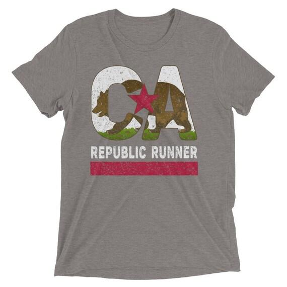 Men's California Republic Runner TriBlend T-Shirt - Run California - Men's Short Sleeve Running Shirt