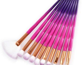10 Piece Purple Pink Makeup Eyeshadow Brush Set Style 013