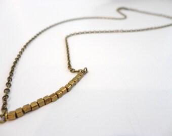 Dainty Brass Necklace, Tiny Brass Necklace, Brass Bead Necklace, Brass Bar Necklace, Delicate Brass Necklace, Brass Layering Necklace