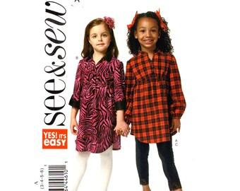 Girls Sewing Pattern Shirt Dress Long Top Leggings Butterick 5802 School Clothes Girls Size 3 to 6 UNCUT