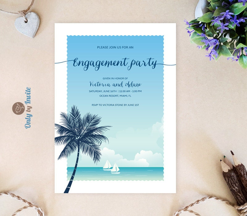 Tropical engagement invitations Beach themed engagement