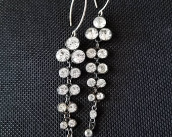 rhinestone waterfall drop earrings