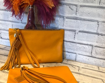Orange Leather Bag, Leather Clutch, Wrist Purse, Zip Top Bag, Leather Evening Bag. Orange Handbag, Ladies Gifts, Handmade Leather Bags,