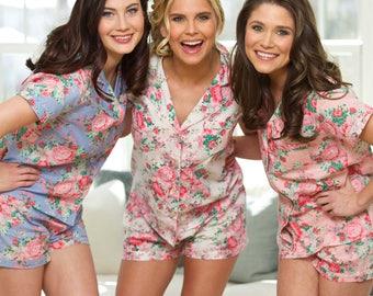 Bridesmaid Floral Pajamas | Bridesmaid PJ's | Bridal PJ Set | Floral PJ Sets | Wedding Day Pajamas | Bridal Pyjama Set | Floral Night Set