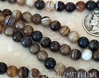 "6mm Striped Banded Matte Agate Smooth Round Beads - 16"" Strand - Brown Tan Black Sardonyx - Rustic Boho Healing Mala - Central Coast Charms"