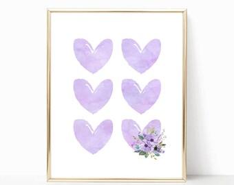 Purple Watercolor Hearts Nursery Art. Lilac Nursery Art. Lavender Nursery Wall Art. Lavender Nursery Decor. Lilac Nursery Decor. Purple Art