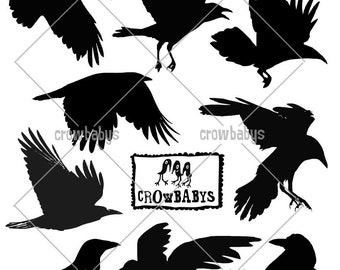 Set of 9 Crow Decals - Flying and Standing Black Bird Raven Silhouette Vinyl Wall or Stair Riser Stickers