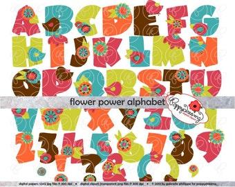 Flower-Power-Alphabet: Clip Art Pack (300 dpi transparent Png) Karte machen digitale Sammelalbum Buchstaben Zahlen rosa Orange blau grün braun
