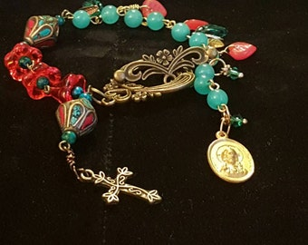 HEY MARY Peace Beads Lmt Edition by TR Jackson delux bracelet 10k gf vintage medal gems Apatite Azurite Tibetan coral turquoise  Czech Glass