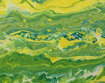 Acrylic Spring Abstract Painting on Canvas-  Modern, Fluid Art, Contemporary,Green, Yellow
