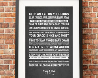 Great British Bake Innuendos and Quotes - HIGH QUALITY PRINT -  Choose Your Size - Wall Art - Poster Print - Modern Design