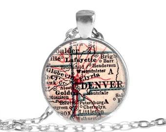 Denver, Colorado map necklace charm, Colorado map jewelry, custom Denver photo pendant, Denver map necklaces, sister gift, A164
