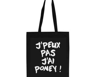 Black tote bag for adult with funny french words