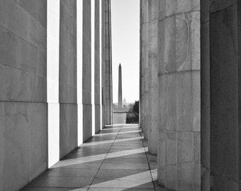 Washington DC Photography, Halls of Power, Black and White Photograph, Washington DC skyline, Washignton dc art