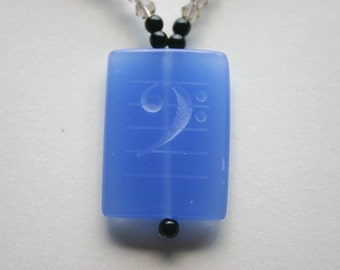 Bass Clef Note Engraved Blue Quartz Gemstone Beaded Necklace Musical Note