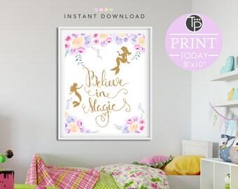 MERMAID ART, Instant Download Printable Art, Mermaid Print, Mermaid Printable, Digital Art, Mermaid Party, Nursery Print Girl, Wall Art Girl