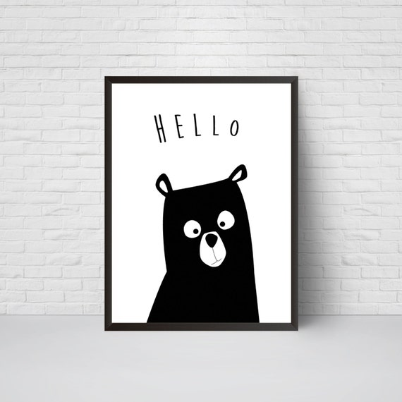 Bear nursery print hello bear art black and white modern