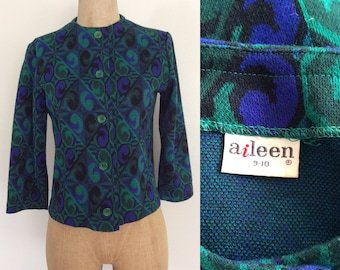 1970's Blue & Green Printed Knit Cardigan Sweater Size Small Medium by Maeberry Vintage