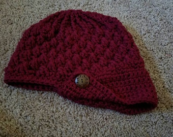 Burgundy Peaked Newsboy Hat with wide Brim and Decorative Wood Button, ready to ship